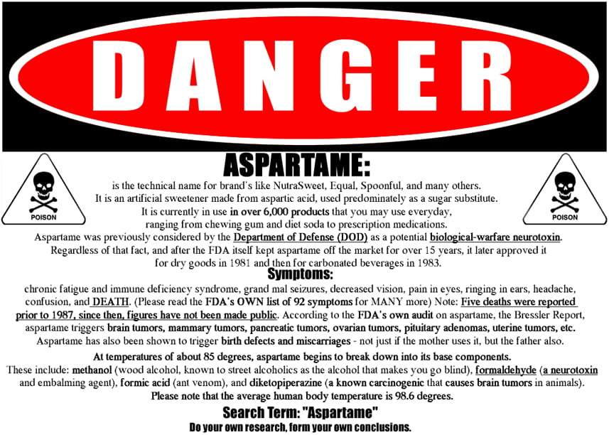 danger aspartame hyperbaric studies hbot research